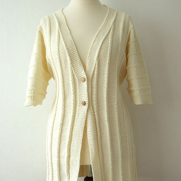 plus size knitted jacket, 3XL ecru cardigan, handknit summer coat, cotton blend