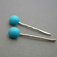 Turquoise Lucite Decorative Bobby Pins, Silver Plated Pins