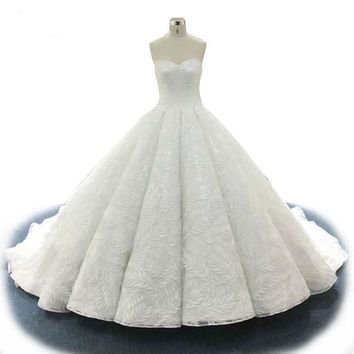 Backless White Lace Ball-Gown Bridal Dress Glitter Sequined Beaded Wedding Dresses