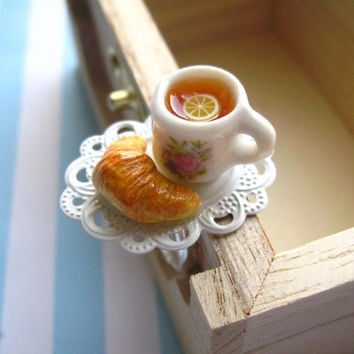 French Cafe Ring - Tea and Croissant Miniature Food Adjustable Ring