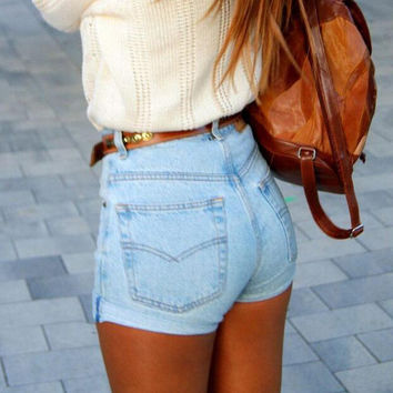 Slim Pants Hot Sale High Rise Sexy Denim Shorts [4920536388]