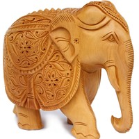 Precious Gifts - Elephant Decor- Hand-Carved Statue Wooden Collectible Figurine Sculpture Figure - Table Centrepieces and Home Decoration Item for Living Room Office Decor Statue 100 % Wooden Art