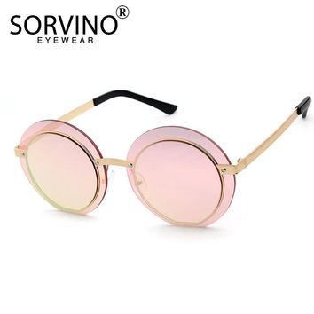 SORVINO Futuristic Oversized Round Sunglasses 2018 Women Men Retro Festival Sunglass Mirror Sun Glasses Double Lens Shades SP65