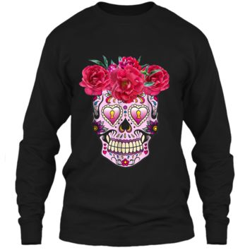 Pink Flowers Sugar Skull Day Of The Dead Halloween LS Ultra Cotton Tshirt