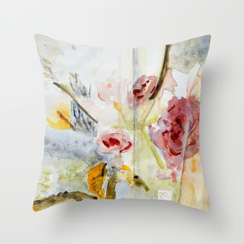 Pillow cover with abstract cherry blossom landscape
