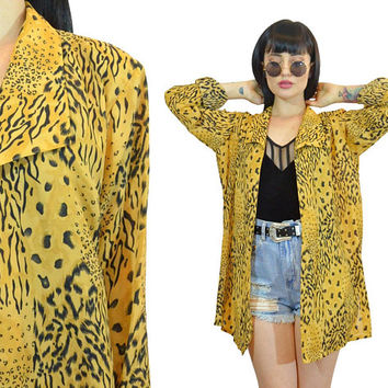 vintage 90s animal print duster jacket slouchy shirt top gauzy ultra draped 1990s jacket paper thin safari print golden cheetah leopard S/M