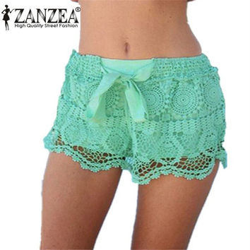 Summer Style 2016 Fashion Women Shorts Casual Lace Drawstring Hollow Out Shorts Solid Sweat Style Shorts For Women Plus Size