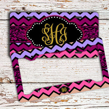 Chevron car accessory, Personalized license plate or frame, Monogram car tag, Girl's bike license plate Purple pink maroon custom tag (1388)
