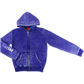 "Butter GIRLS ""BUTTER IN LA"" BURNOUT ZIP HOODIE - Purple"