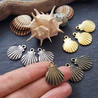 Bronze Shell Charms, Seashell Charms, Clam Shell, Scallop Shell, Mermaid Shell, Shell Pendant, Beach Charm, Antique Bronze Plated 3pc