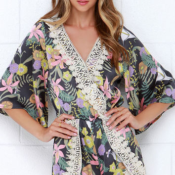 I. Madeline Midnight Blooms Grey Print Lace Romper