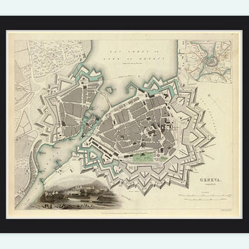 Old Map of Geneve Geneva City and fortifications, Switzerland 1841