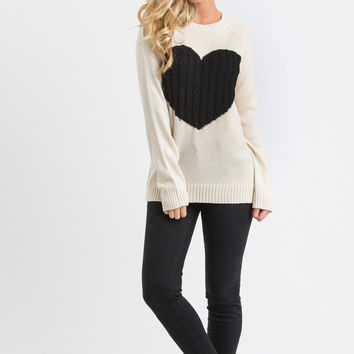 Tiffie Cream Heart Sweater