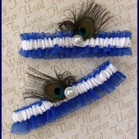 Peacock Feather Wedding Bridal Garters Royal Blue and White