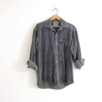 faded vintage gray shirt. button down boyfriend shirt. oversized work shirt. lightly striped button up shirt