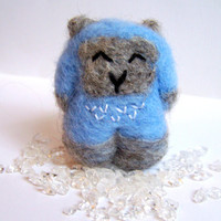 Lucky Yeti Sculpture - Needle Felted Tibetan Yeti with Rock Crystals - Cute Amigurumi Soft Sculpture