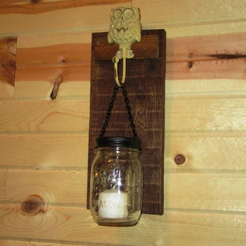 Rustic Owl Mason Jar Wall Sconce,  Mason Jar Candle Holder, Wall Sconce with Owl design hook