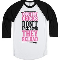 Country Chicks Don't Back Down, They Reload-White/Black T-Shirt