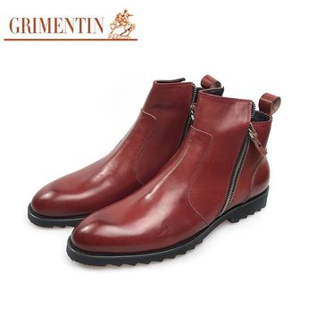 luxury zip boots men genuine leather brown male shoes business wedding shoes