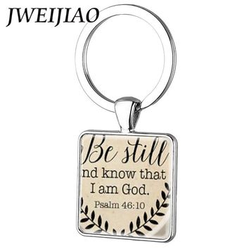 JWEIJIAO Bible Verse Square Keychain Key Ring Be Still and Know That I am God Pendant, Psalm 46:10 Quote Religion Jewelry Custom