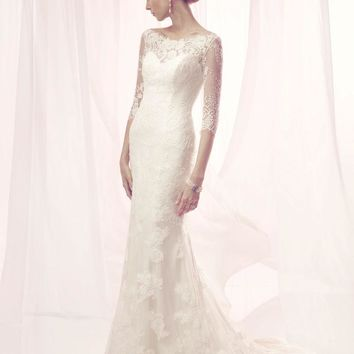 CB Couture B094 3/4 Sleeve Lace Fitted A-Line Wedding Dress