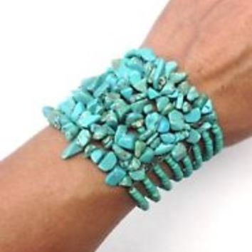 Turquoise Blue Stone & Glass Beaded Western Cuff Bracelets Lot of 2 Stackable