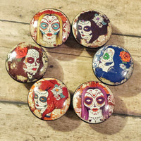 6 Handmade Lady Sugar Skulls Knob Drawer Pulls, Birch Wood, Distressed Day of The Dead Cabinet Pull Handles, Dresser Knobs, Made to Order