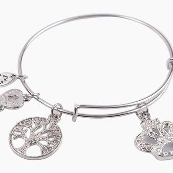 Tree of Life Fashion Silver Charm Bangle Bracelet