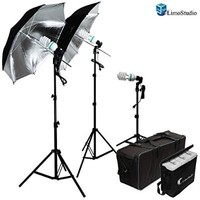 LimoStudio 600W Photography Triple Photo Umbrella Light Lighting Kit, Video, and Portrait Studio Umbrella Continuous Lighting Kit With Three 45 Watt, 6500K Day Light Balanced CFL Photo Bulbs, Black/Silver Reflective Photo Umbrellas, Stands, and Carrying Ca