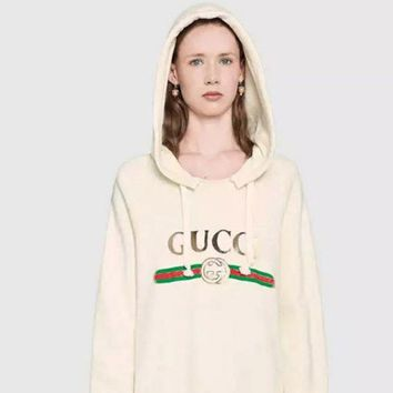 DCCKB62 Gucci Fashion Long Sleeve Hooded Print Embroider Casual Sweater