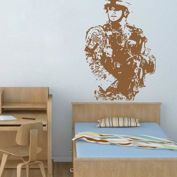 ik716 Wall Decal Sticker US Army soldier military shooter bedroom