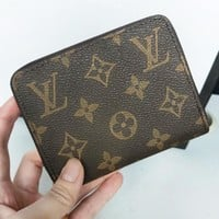 LV Louis Vuitton Fashion Women Leather Single Zipper Wallet