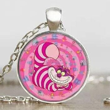 Alice in Wonderland Cute Pink Cheshire Cat Mens chain Handmade New brass Necklace silver Pendant steampunk Jewelry Gift women
