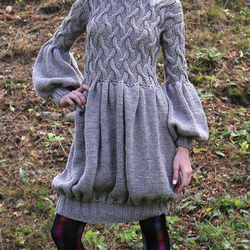 PDF pattern. Hand knitted short dress with long sleeves. Digital pattern from Ilze Of Norway.