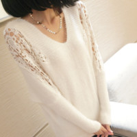 Lace Sleeves Shoulder Sweater A008