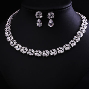 clear white  Zircon   Jewelry Set