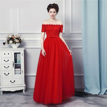 Off the Shoulder Bridesmaid Dresses Strapless Lace Applique Corset Lace Up Floor Length Long Red Brides Maid Dress With Bow Knot