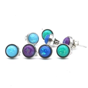 6mm Round Stainless Steel Stud Earrings Resin Imitation Opal Shell Effect Cabochon Earrings for Women Jewelry Gift