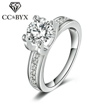 White Gold Cubic Zirconia Wedding Rings For Women