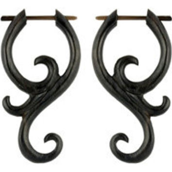 Swirling Tails - Organic, Wood Post Earrings, Tribalstyle, Fake Gauges -  1