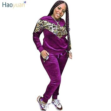 b88ad8cf68 HAOYUAN Velour Tracksuit for Women Matching Sets Sequin Thickeni