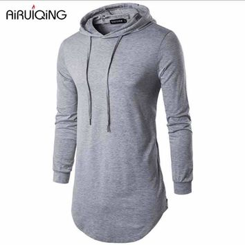 Men's Long Line Sweatshirt Hooded Outerwear Male Hip Hop Streetwear Long Hoodies Clothing Cool Men Sweatshirts Moleton Masculino