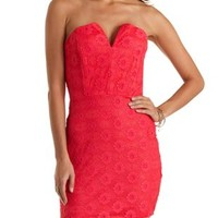 Notched Strapless Lace Dress by Charlotte Russe