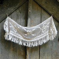 Antique off white cotton curtain. French cafe curtain. chimney canopy, valance.