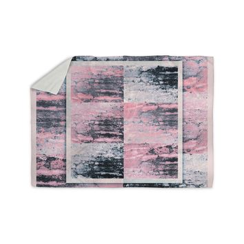 "Nina May ""Tavertina Pink"" Gray Pink Mixed Media Sherpa Blanket"