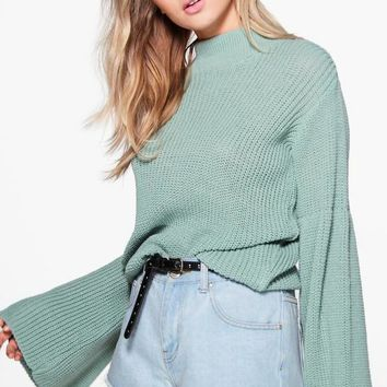 Phoebe Wide Sleeve Jumper | Boohoo