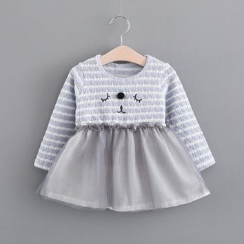 Cartoon Toddler infant Baby Cat Girls Tutu Stripe Long Sleeve o-neck Tulle Princess Dress fashion winter costume outfit clothes