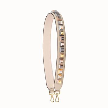 Fendi Shoulder Strap Studs Rainbow Collection Tan Leather with Silver and Gold Studs 8AV077