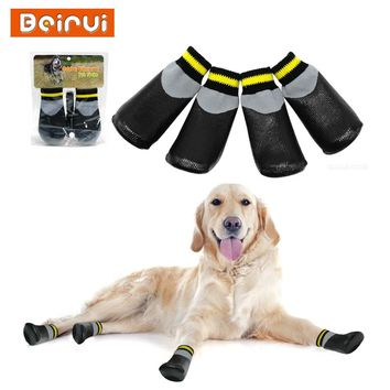 Outdoor Waterproof Dog Socks Rain Wear Non-Slip Anti Skid Cotton Elastic Shoes with Fixed Belt for All Breeds