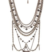 Ettika Statement Necklace in Metallic Silver